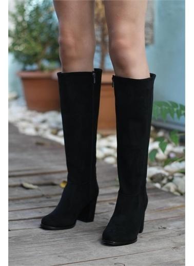 Modabuymus Modabuymus Yuvarlak Burun Kalın Topuklu  Kadın Çizme - Barkab Siyah